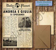 Newspaper style vintage wedding-Vintage journal participation wedding invitation