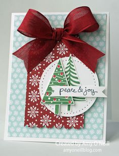 Amy O'Neill: Amy's Paper Crafts - Peace & Joy Trees - 9/6/14 (SU Holiday 2014 stamp/dies: Festival of Trees, stamp: Good Greetings (free stamp)