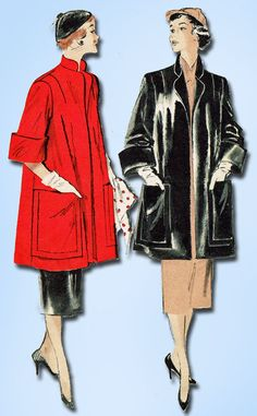 1950s Vintage Butterick Sewing Pattern 5421 Easy Misses Swagger Coat Size 14 32B #Butterick #1950sCoatPattern