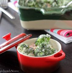 creamy bacon and roasted red pepper broccoli bake - picky palate