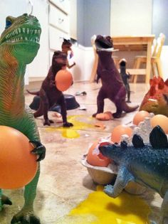 """""""Dinovember:  Every year, my wife and I devote the month of November to convincing our children their plastic dinosaur figures come to life while they sleep. .. Why do we do this? Because in the age of iPads and Netflix, we don't want our kids to lose their sense of wonder and imagination. In a time when the answers to all the world's questions are a web-search away, we want our kids to experience a little mystery. """""""