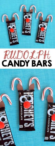 DIY: Rudolph Reindeer Candy Bars. A fun and simple gift idea or a party favor idea for a Christmas Party.