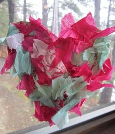 Valentine Crafts for Kids - frugal recycled cereal box and tissue paper hanging heart craft, easy enough for toddlers, fun for all ages