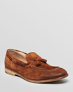 $268, Suede Tassel Loafers by Modern Fiction. Sold by Bloomingdale's. Click for more info: http://lookastic.com/men/shop_items/39883/redirect