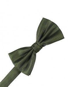 Sage Herringbone Bow Tie