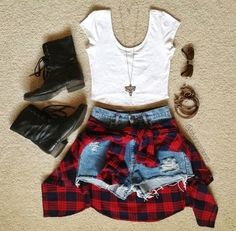 Really have been loving pairing flannels with black boots, whether it's tied around your waist or worn!