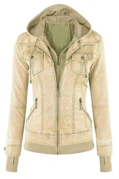 #Womens Long Sleeve with #Detachable #Hooded #Zippered #Jacket #Beige White
