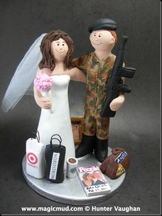 "Army Groom Wedding Cake Topper   Enough respect to the men and women who risk their lives on our behalf… soldiers,marines,air force,navy, and many others…But there was this love story about the ""Soldier and the Shopper""…. $235#camo#soldier#army#military#USA#m_16#wedding #cake #toppers  #custom #personalized #Groom #bride #anniversary #birthday#wedding_cake_toppers#cake_toppers#figurine#gift"