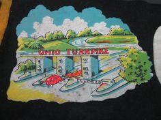 vintage souvenir travel felt pennant ohio by maryscrochetnmore, $10.00