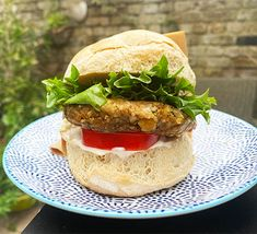 Make this fantastic base recipe for a vegan burger and add whatever you fancy – chilli flakes, grated lemon zest or other herbs all work really well Bbc Good Food Recipes, Vegetarian Recipes, Cooking Recipes, Healthy Recipes, Healthy Food, Best Veggie Burger, Vegan Burgers, Rhubarb And Custard, Vegan Coleslaw