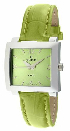 Peugeot Women's 708GR Silver-Tone Green Leather Strap Watch Peugeot. $49.99. Accurate Japanese-quartz movement; durable mineral crystal. Free lifetime battery replacement from Peugeot. Water-resistant to 99 feet (30 M). Limited lifetime warranty. Genuine leather strap