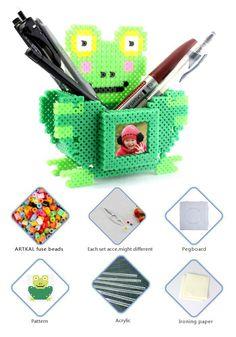 Frog pencil holder perler fuse beads - Artkal