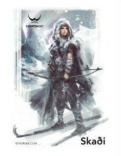 In Norse mythology is a jötunn and goddess associated with bowhunting, skiing, winter, and mountains. Norse Goddess, Norse Pagan, Old Norse, Goddess Symbols, Art Viking, Viking Warrior, Viking Woman, Thor, North Mythology