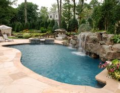 The best of everything...hot tub, pool, water feature, rocks...expensive!
