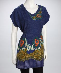 Take a look at this Blue Retro Dolman Tunic by Dily on #zulily today!
