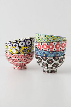 Patterned bowls! Cute way to jazz up a kitchen! #Anthro