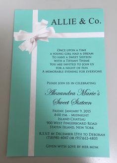 Tiffany & Co. sweet sixteen invitation.