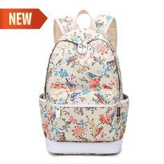 Women Backpack Waterproof Bird Print Canvas School Bags Girls Travel Bag    Clothing, Shoes  amp adb970e6c3