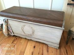 lane cedar chest with raised bondo stencil, painted furniture, woodworking projects