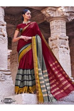 Flaunt your convestional avtaar in this maroon and grey coloured woven handloom cotton silk saree with unstitched blouse piece. #handloomsarees #womenfashion #sareesforwomen #handloomsareesonline Shop here - https://trendybharat.com/maroon-and-gray-colour-woven-handloom-cotton-silk-saree-with-unstitched-blouse-piece-kysmr-aamal?search=handloom%20cotton%20sarees&page=3