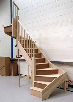 new staircase for basement Small Space Staircase, Attic Staircase, Loft Stairs, House Stairs, Staircase Design, Space Saving Staircase, Attic Renovation, Attic Remodel, Wooden Staircases