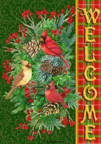 Custom Decor Flag - Tartan Cardinals Decorative Flag at Garden House Flags Christmas Tree Bows, Christmas Animals, Plaid Christmas, Xmas Ornaments, Winter Christmas, Christmas Clipart, Xmas Tree, Christmas Crafts, Mailbox Accessories