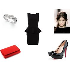 Love this outfit.....cute black peplum dress, Christian louboutin shoes with a red clutch