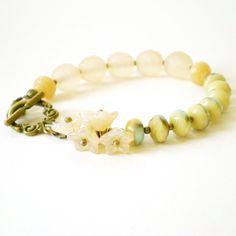 cream flower bracelet beaded bracelet hipster by jcudesigns, £13.50