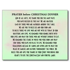 christmas prayer said at dinner | Prayer before Christmas Dinner Postcard | Zazzle