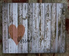 Blessed  with Heart - Larger Wood Sign or Canvas Wall Hanging -  Pallet Rustic Style - Christmas, Family, Wedding, Anniverary, Birthday