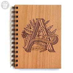 Floral Monogram Wood Journal - Multiple Letters Available (*Amazon Partner-Link)