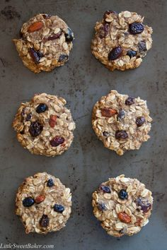 HEALTHY BANANA OATMEAL COOKIES. Gluten-free, no sugar, no fat, easy to make, healthy and delicious. Great for breakfast, school lunches and/or as a snack.