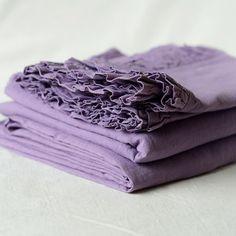 Purple Washed Linen Bed Sheet   Linen Tales