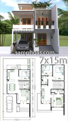 Home Design Plan with 4 Bedrooms - SamPhoas Plansearch Office houses design plans exterior design exterior design houses home architecture house design houses Duplex House Plans, House Layout Plans, Bungalow House Design, House Front Design, Dream House Plans, Small House Design, Small House Plans, House Layouts, Modern House Design