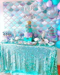 New baby shower ideas for girls themes purple mermaid birthday 31 ideas Mermaid Birthday Cakes, Little Mermaid Birthday, Little Mermaid Parties, Girl Birthday, Mermaid Birthday Party Ideas, Birthday Ideas, Mermaid Themed Party, Birthday Images, Mermaid Party Decorations