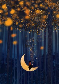 Checkout this beautiful fantasy art by this amazing artist. Fantasy Kunst, Fantasy Art, Beautiful Moon, Moon Art, Nocturne, Whimsical Art, Night Skies, Wallpaper Backgrounds, Wallpapers