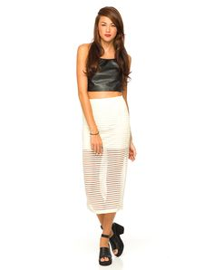 Motel Bobby Midi Skirt in Ivory Stripe Net,