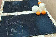 Denim 2 pieces napkin set , handmade placemats set , house table mats , denim serviette , table serviette , fun placemats , upcycled denim by SecondBirthday on Etsy