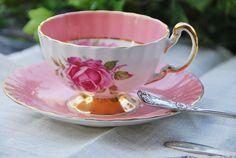 Elegant vintage AYNSLEY Tea Cup and Saucer, Pink Rose, Oban, England on Etsy, Sold
