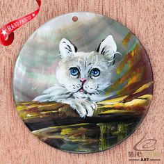 HAND PAINTED CAT FELINE MOTHER OF PEARL SHELL NECKLACE PENDANT ZL30 06599 #ZL #PENDANT