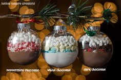 Hot Cocoa Mix Ornaments: Love this idea! Buy a box of our glass ornaments and fill with hot cocoa mix, chocolate chips, and marshmallows for a quick, easy, cheap gift that's too cute!