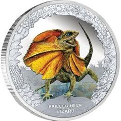 From the dragon family, this northern Australian reptile will do anything to save its neck! | Australia's Remarkable Reptiles - Frilled Neck Lizard 2013 1oz Silver Proof Coin