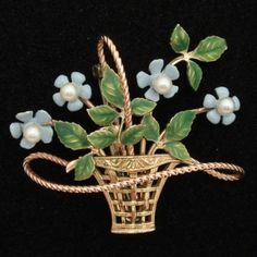Krementz Forget-Me-Not Flower Basket Pin Vintage Enamel