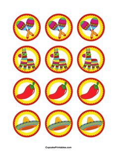 Cinco de Mayo cupcake toppers. Use the circles for cupcakes, party favor tags, and more. Free printable PDF download at http://cupcakeprintables.com/toppers/cinco-de-mayo-cupcake-toppers/