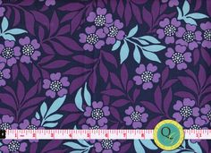 Designer Fabric By the Yard  Purple Navy Fabric and Blue Leaves Purple & Blue fabric Floral Fabric Flower Fabric Modern Fabric by the yard. $7.49, via Etsy.
