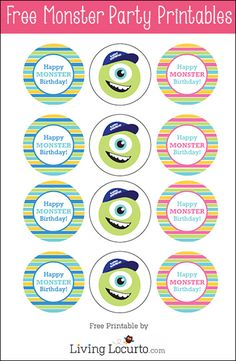 Imprimible topper para fiesta de Monstruos S.A. >> Monster Birthday Party Ideas with  Free Party Printables by Amy Locurto. LivingLocurto.com #monstersu #freeprintables