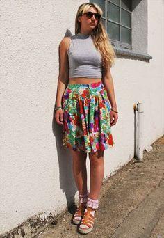 Vintage 90's Bright Floral Culotte Shorts