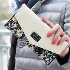 fb8d71b8bbfa 2015 New Fashion Envelope Women Wallet Hit Color 3Fold Flowers Printing  5Colors PU Leather Wallet Long Ladies Clutch Coin Purse