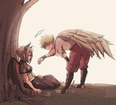 Hai nhân vật chính của chúng ta trong trang phục thiên thần và ác quỷ