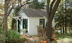 Little house in the woods. Reminds me of a place I had for a short time in Swisshome, Oregon. White with green trim.